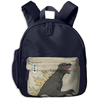 new Great Wave Off Kanagawa Godzilla School Bag For Boys And Girls Kids Daypack Oxford Cloth Backpack