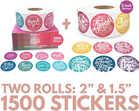 Amazon Com Best Selling Bundles Of 1500 Thank You Stickers 1 5 Inch 2 Inch Thank You Stickers Office Products