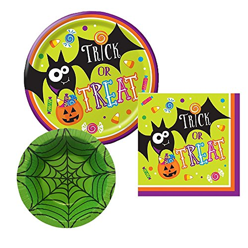Trick or Treat Halloween Party Plates and Napkins with Spider Web Green Bowl for party of 8
