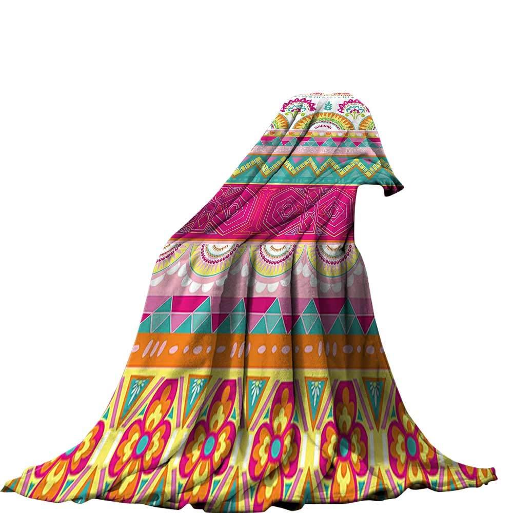 QINYAN-Home スローブランケット (50インチ x 30インチ サマーキルト掛け布団 エスニック装飾 花柄 アラベスクボーホーパターン クジャクフェザーフィギュア フォークイメージ マルチ。 90