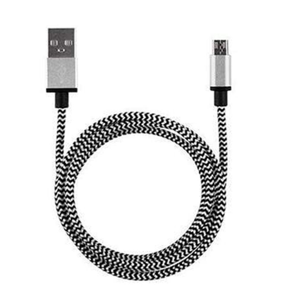 Fullfun Braided Aluminum Male to Micro USB Data&Sync faster Charger Cable For Android Phone (Silver)