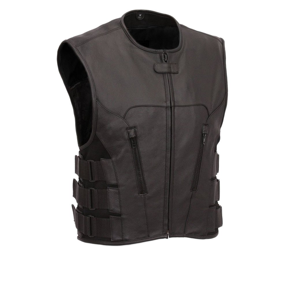 First Manufacturing Men's Commando Motorcycle Vest, Black, 8X