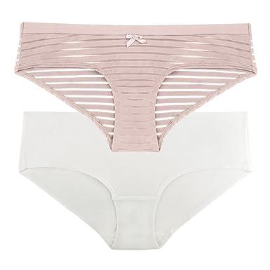 7994ce17903d DORINA Women's Hipster Panties (Pack of 2) Louise D17164 with Burnout  Details - XL