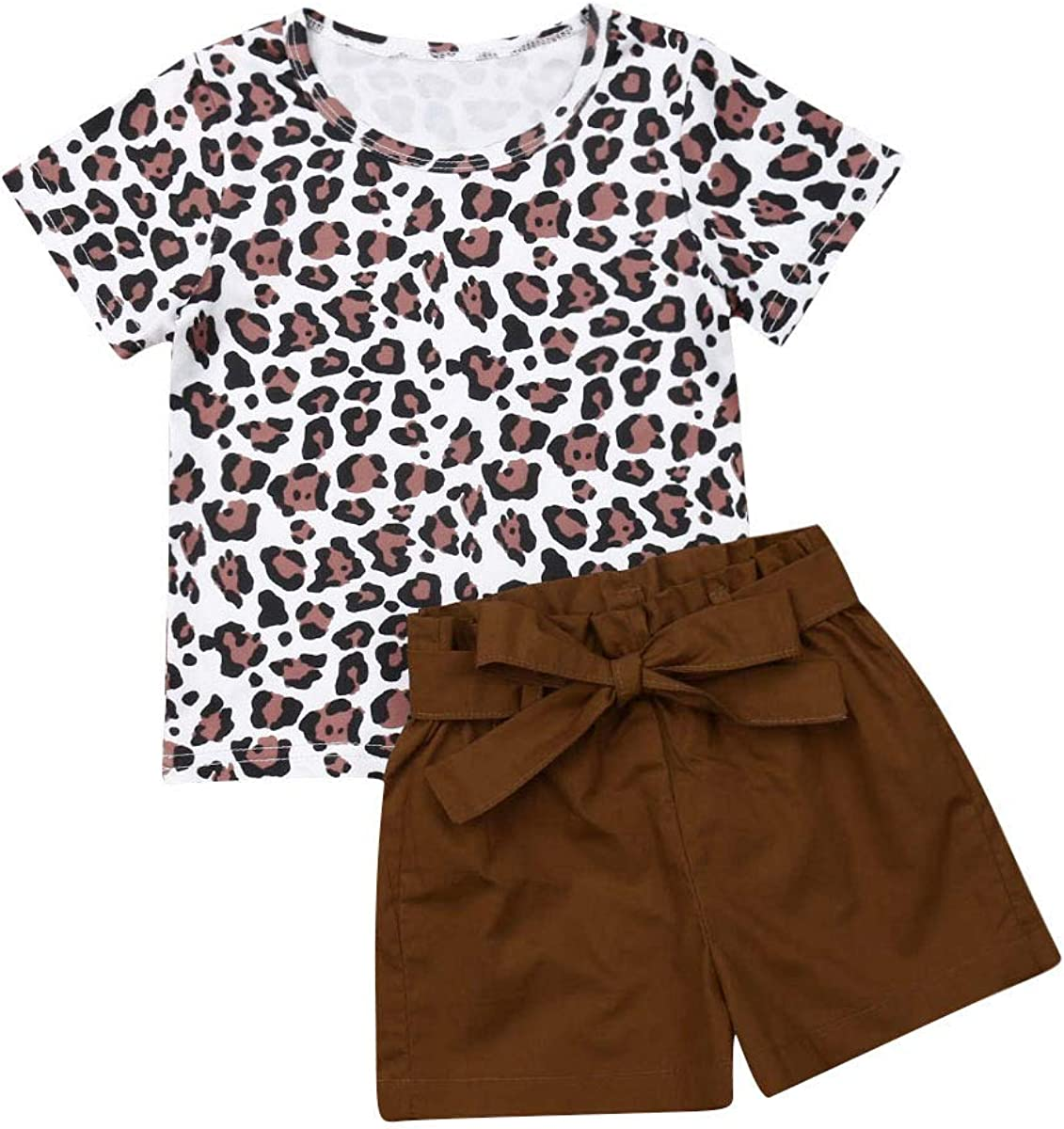 Fepege Toddler Baby Girl Cotton Linen Shorts Set Short Sleeve T-Shirts and Solid Color Shorts with Drawstring Outfits