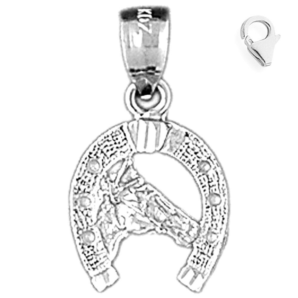 Sterling Silver 21mm Horse Heart with 7.5 Charm Bracelet Jewels Obsession Horse Heart Pendant