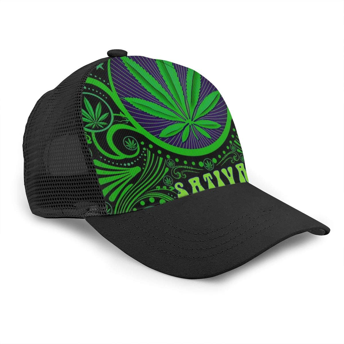 Cannabis Sativa Weed Unisex Mesh Plain Caps Stylish Dad Hat Adjustable Baseball Cap