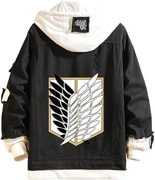 男性と女性のラウンドネックパーカーアニメアタックオンタイタンパターン長袖デニムジャケット3Dプリント調査隊プルオーバートップススウェットシャツ