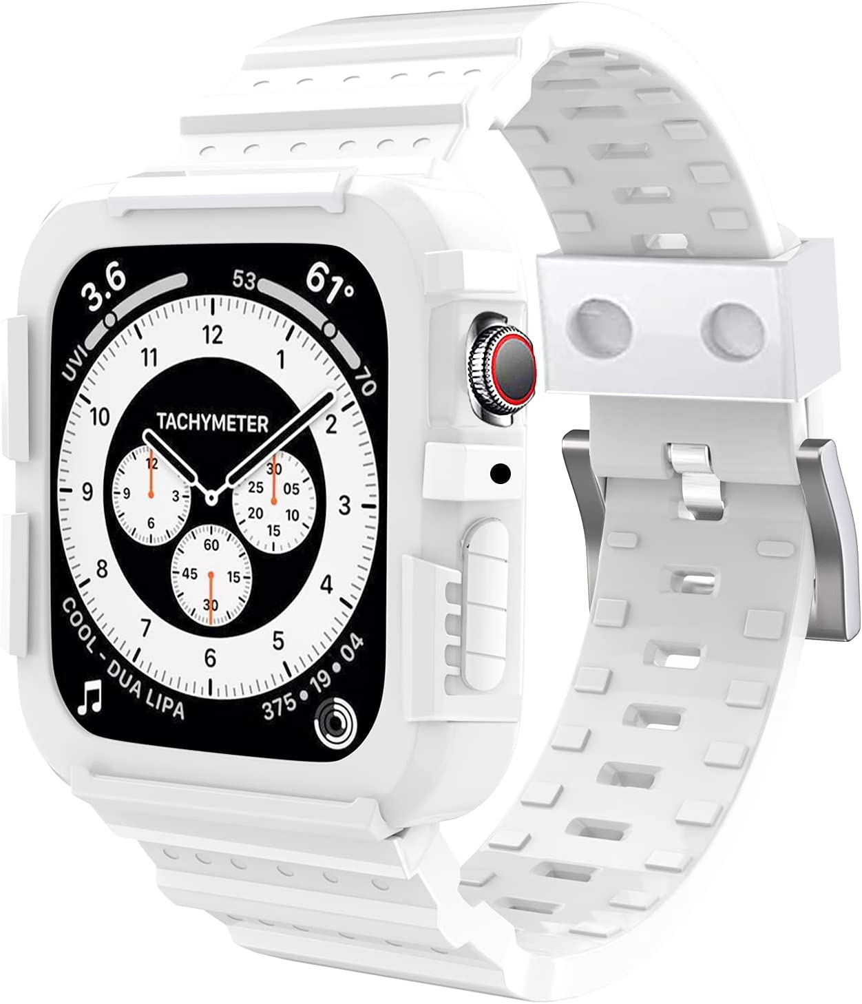 SLYEN Compatible for Apple Watch Band with Case Accessories 42mm 44mm Men Women,Bright White Rugged Strap with Shock-Proof Bumper for iWatch Series SE/6/5/4/3/2