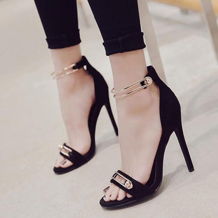 ac43b6507022 GAOLIXIA Women s Shoes PU Summer Comfortable Sandals Walking Shoes Stiletto  Round Head Outdoor Black Blue Orange  Amazon.co.uk  Shoes   Bags