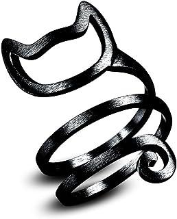 Skyllc Créatif ajustable en anneau à enroulement multi-tour Bague Lovely Kitty Cat Ring Bijoux en forme d'animal pour femmes Noir
