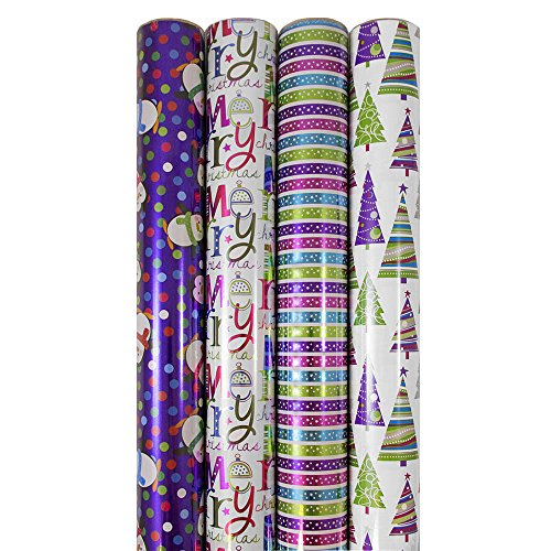 JAM Paper® Christmas Design Wrapping Paper - Confectionery Christmas - 180 Sq Ft. - 4/pack