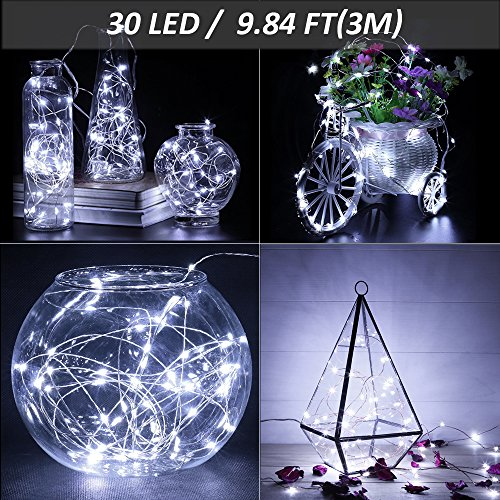 Ustellar 16 Pack 10ft 30 Micro Starry LED String Lights, Waterproof Fairy Silver Wire Lights, Firefly Moon Lights Battery Operated (Included), For DIY Wedding Party Christmas Decorations, Cool White