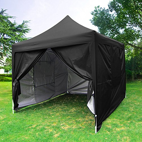 Quictent privacy Pyramid-roofed 8'x8' mesh Curtain EZ Pop Up Party Tent Canopy Gazebo photo booth 3 adjust point-7 Colors (Black)