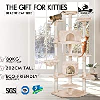 BEASTIE Cat Tree Scratching Post Scratcher Tower Condo House Furniture Wood 202 (Beige)