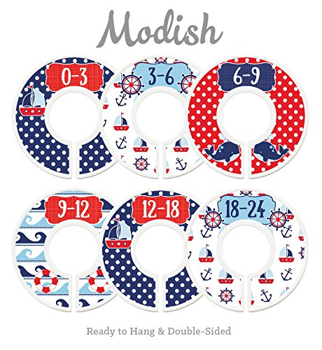 Modish Labels Baby Nursery Closet Dividers, Closet Organizers, Nursery Decor, Nautical, Anchors, Sail Boats, Gender Neutral, Boy, Girl