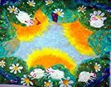 Baby blanket with lambs handmade Soft merino wool felted kids playmat toddler gift