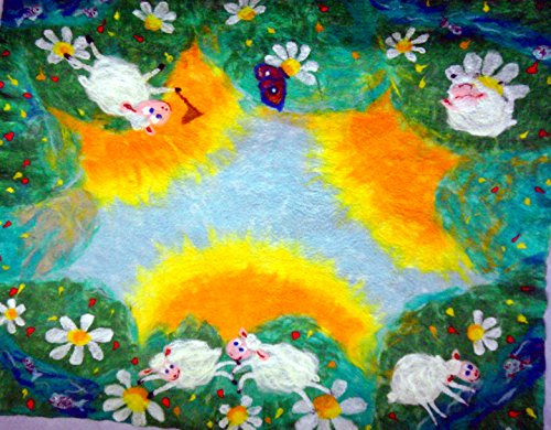 Baby blanket with lambs handmade Soft merino wool felted kids playmat toddler gift by Alla Taisheva