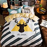 WarmGo Home Bedding Oh Deer Pattern Design Duver Cover Set 4 Piece Full/Queen for Adult Kids Bedding Set with 2 Personaltiy Pillowcase - Not Include Comforter