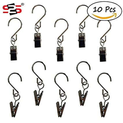 S2S String Light Hangers Stainless Steel Curtain Clips Fairy Light Clamps Metal Hooks, Silver - 10 Pieces