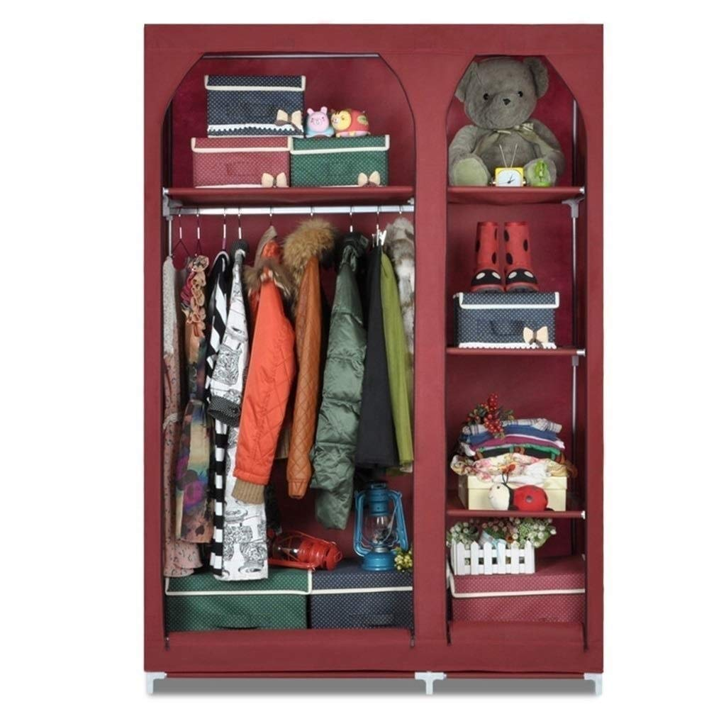 XSWZAQ Simple Wardrobe Simple Steel Frame Fabric Simple Modern Home (Size: 104x44x160CM /1 inch = 2.54CM) (Color : Red) by XSWZAQ