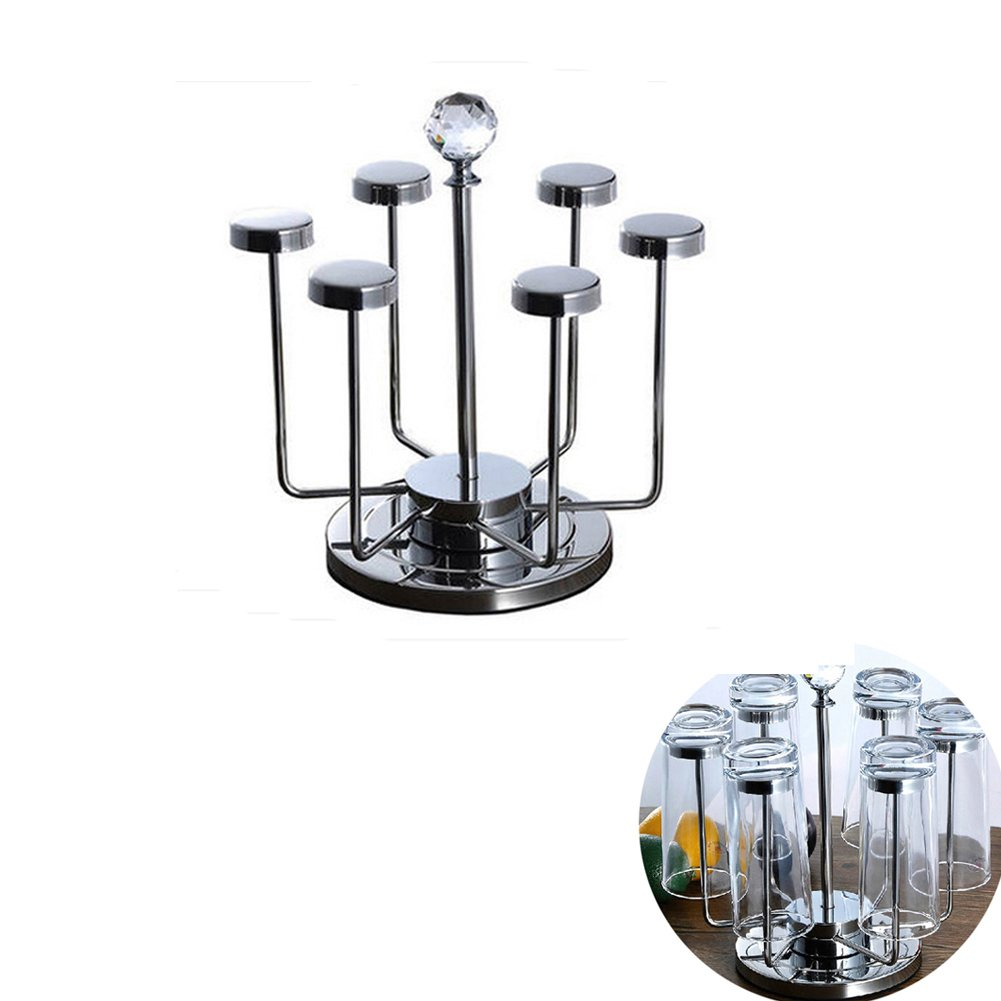 Vivian Rotating Cup Mug Glass Holder Rack Stainless Steel 6 Cups Drying Rack Stand