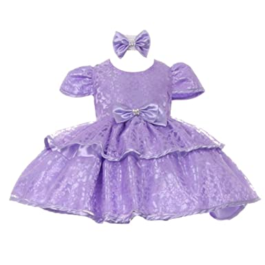 d6cb4ffceaf Baby Girls Lilac Floral Embroidered Lace Overlay Bow Flower Girl Dress 18M
