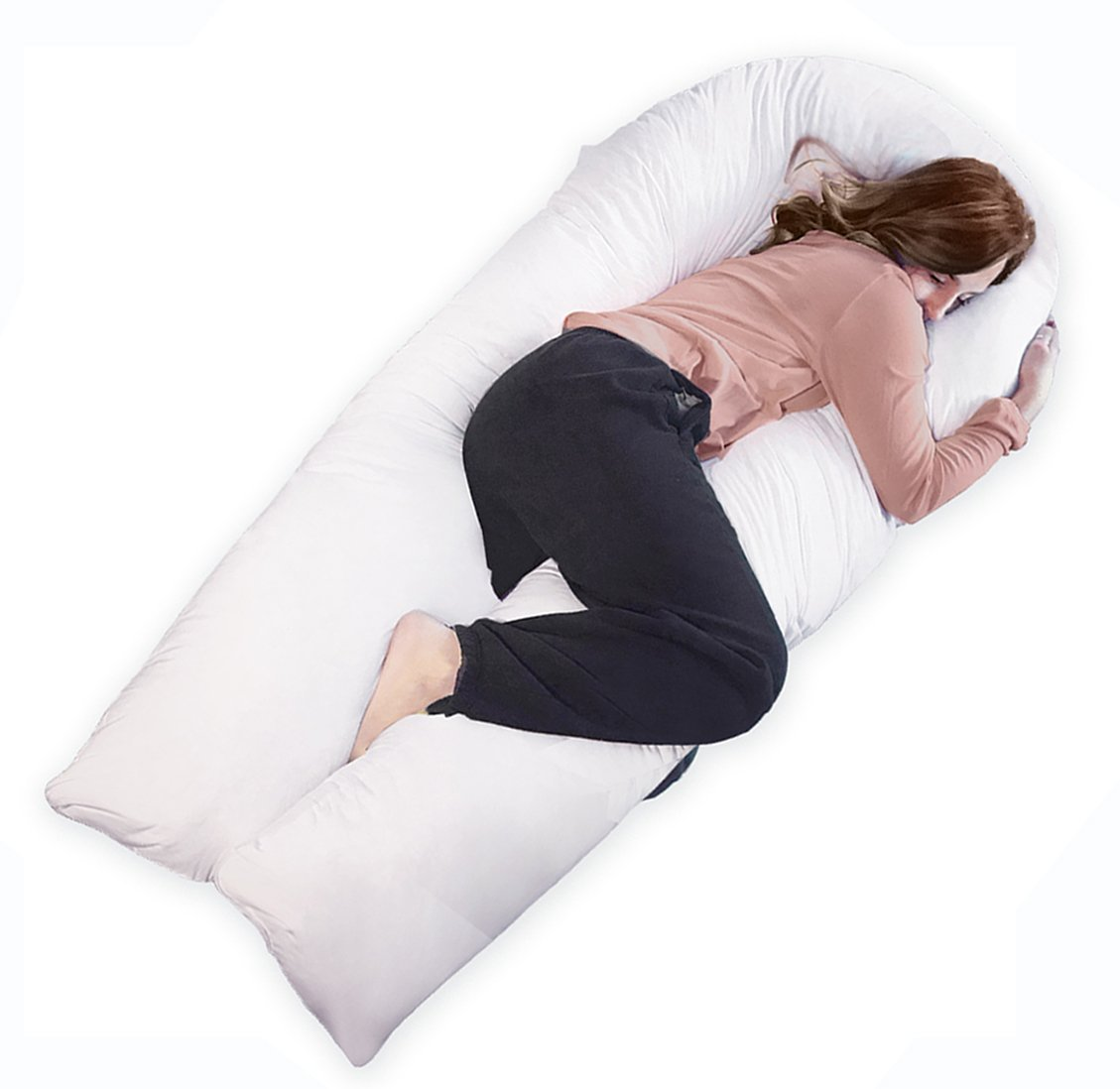 QUEEN ROSE 65 inch Pregnancy Body Pillow King size / Maternity Support Pillow for Neck Pain with 100% Hypoallergenic Removable Pillow Cover