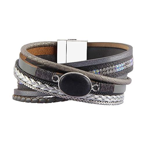 1f7ddd7f208 Jenia Women's Leather Wrap Bracelet Charm Rope Braided Bracelet Cuff  Bracelet Bohemian Jewelry Handmade Gift for