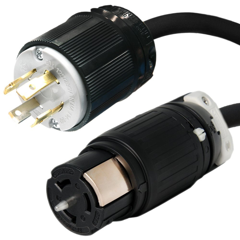 Iron Box L14-30P to CS6364C Power Cord Plug Adapter - Black, 10 foot, 125/250V, 10/4 SOOW Cable, 4-Pin, Part # IBX-6112-10