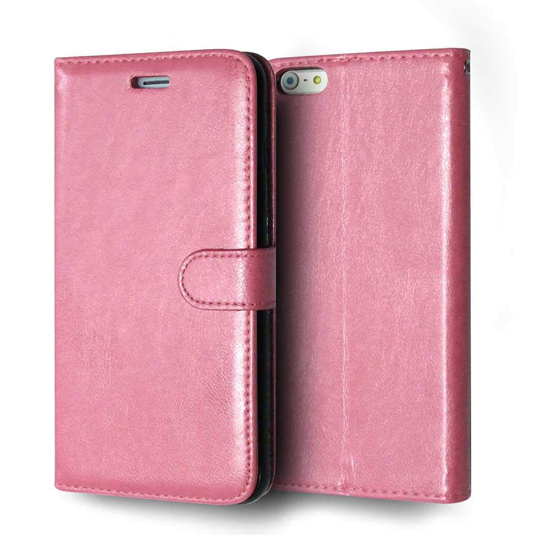 CAXPRO iPhone 6 Plus/iPhone 6S Plus Case, Shockproof Wallet Cover for Apple iPhone 6 Plus/iPhone 6S Plus, Slim Leather Notebook Style Case with Soft TPU Inner Bumper, Pink by CAXPRO