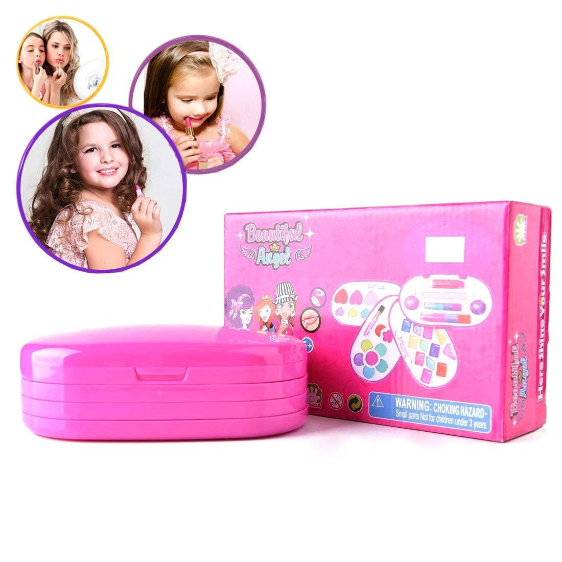 BonnieSun Kids Makeup Kits Girls Washable Cosmetics Dress-up Toys Safety Tested Vanity Deluxe Beauty Palette Set Mirror by BonnieSun (Image #6)