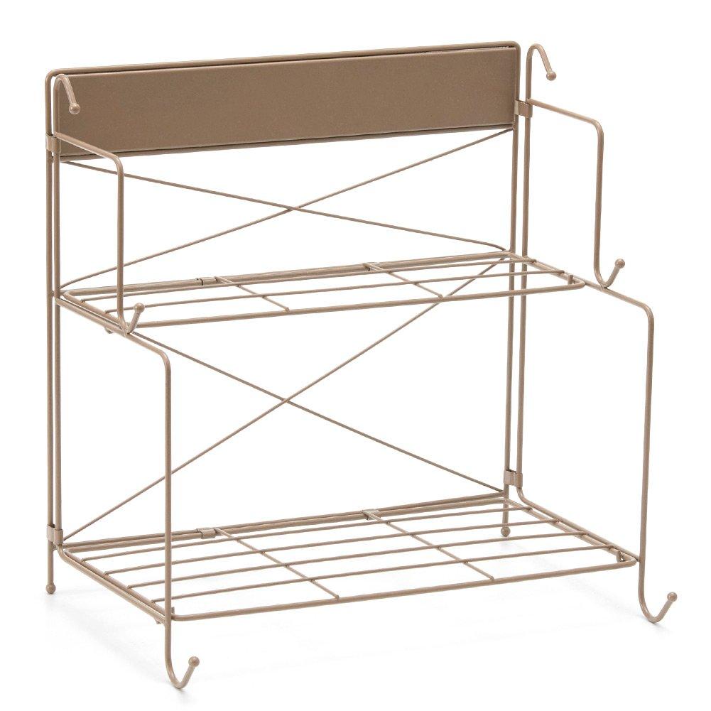 EZOWare Pieghevole scaffali organizzatore ferro da stiro per cucina e bagno, 2 livelli/Marrone