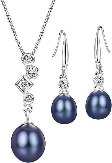 "Womens 925 Sterling Silver CZ Black 10/"" Ball Earrings /& 12/"" Pendant Set"