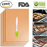 #7: Copper Grill Mat Set of 4 Bestie-Gear Non-stick Reusable Easy to Clean and Heat Resistant BBQ Bake Mats for Charcoal, Electric and Gas Baking Mats with Gifted Pastry Oil Brush (4 Packs)