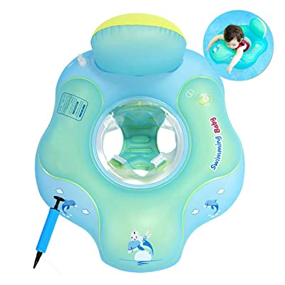 COSORO Baby Swimming Float Safe Seat,Newborn Baby Learn to Swim Inflatable Trainer-Inflatable Baby Pool Float,Baby Swimming Ring,Baby Swim Seat with an air Pump(Style-2: 5-18 Months,S): Toys & Games