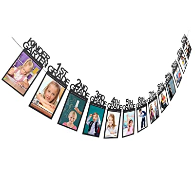 YJYDADA Child Graduation Gift Decorations kindergarten-12 Grade Photo Banner Wall (Black)