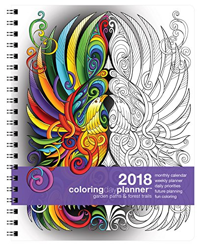 2018 Large Garden Paths & Forest Trails Colorist Planner (8.5 x 11 inches) - Weekly & Monthly Organizer, Appointment Schedule, Goals and Notes