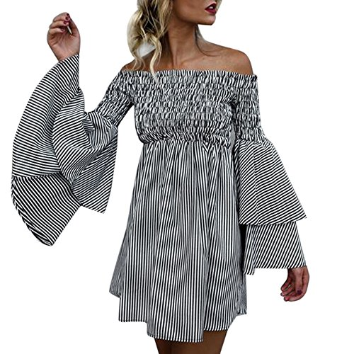 Wobuoke Women's Holiday Off Shoulder Stripe Bohemian Party Ladies Casual Dress Long Sleeve Dress (XXXL, Black)