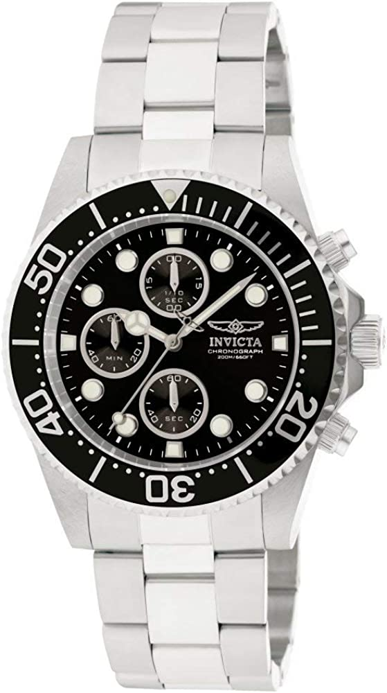 Invicta Men s 1768 Pro Diver Collection Stainless Steel Watch with Black Dial