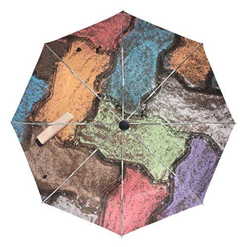 Jere Retro Colorful Wall 3 Folds Auto Open Close Anti-UV Umbrella for Travelling