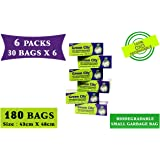 Green City- Garbage Bag   Small: 43CmX48Cm   6 Pack of 30bags- 180Bags   100% OXO-Biodegradable Eco-Friendly Dustbin Bags - Green