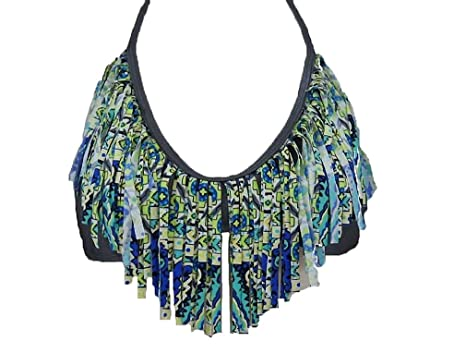 6f5d96e11d Amazon.com  Raisins Fringe Aztec Print Tribal Bikini Top