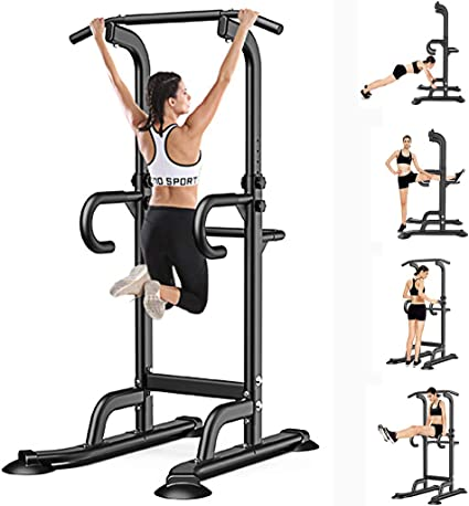 Heavy Duty Power Tower Pull Up Bar Dip Stands Multi-Function Chin Up Bar Dip Station Strength Training Equipment Adjustable Height
