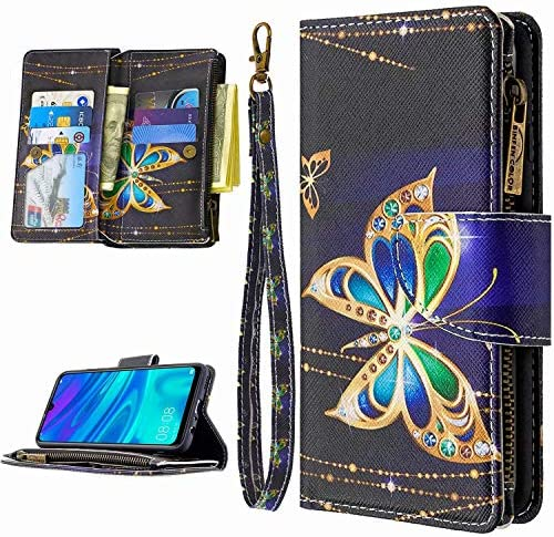 Miagon 9 Kartensteckplätzen Lederhülle für Samsung Galaxy A41,Bunt Reißverschluss Flip Hülle Wallet Case Handyhülle PU Leder Tasche Schutzhülle,Diamant Schmetterling