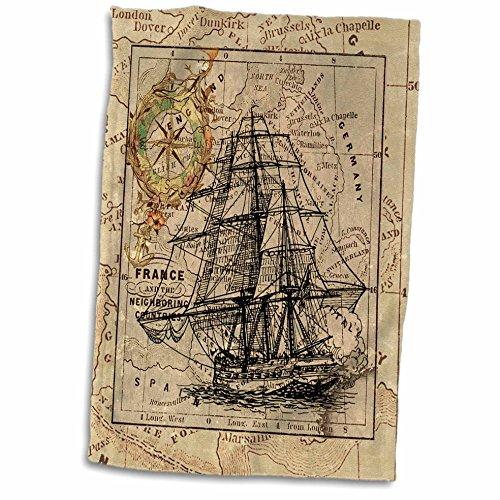 3dRose-Florene-Nautical-Map-Decor-Image-of-Black-Ghost-Ship-On-Vintage-European-Map-Towel