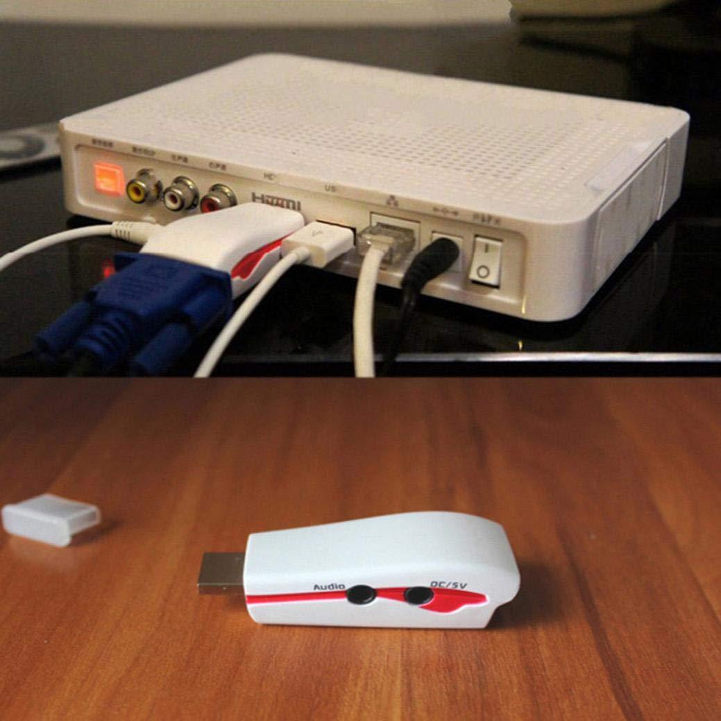 TianranRT 1080P HDMI Macho a VGA Hembra Adaptador convertidor de vídeo 3.5 mm Audio/DC 5 V Salida: Amazon.es: Bricolaje y herramientas
