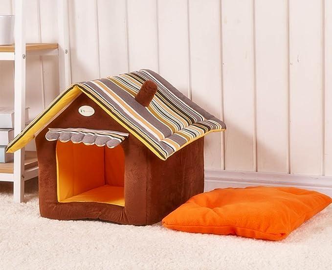 Top SHOP Caseta de peluche para perros y gatos con forma de casita 40 x 35 cm Talla M Marrón y naranja: Amazon.es: Productos para mascotas