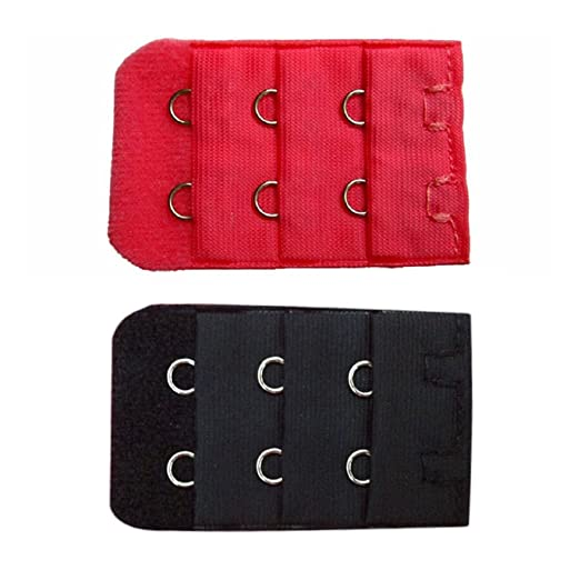 45fefdc109a55 HKDK 2pcs Women Bra Extender Bra Strap Extension 2 hooks 3 Rows red-black at  Amazon Women s Clothing store