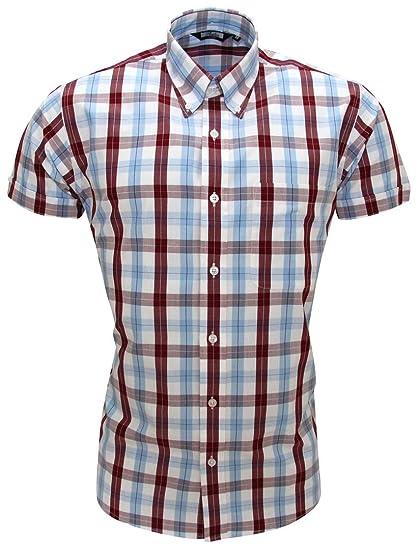 Relco - Camisa Casual - para Hombre Rojo Burdeos Extra-Large: Amazon.es: Ropa y accesorios