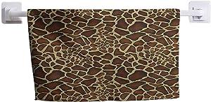 "DayDayFun Kitchen Towel Zambia Cute Towel for Girls Giraffe Skin Pattern Wildlife Symbolic Zoo Hippie Style Artful Picture 8"" x 24"" Redwood Pale Yellow"